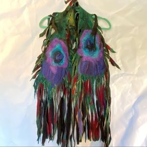 Hand-felted Peacock Feather Scarf/Shawl